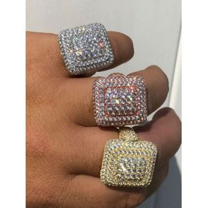 Harlembling Men 925 Silver 14k Gold Diamond Ring